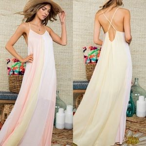 Dresses & Skirts - Large Sleeveless Front Color Block Maxi Dress